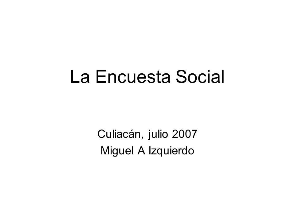 La Encuesta Social Culiacán, julio 2007 Miguel A Izquierdo
