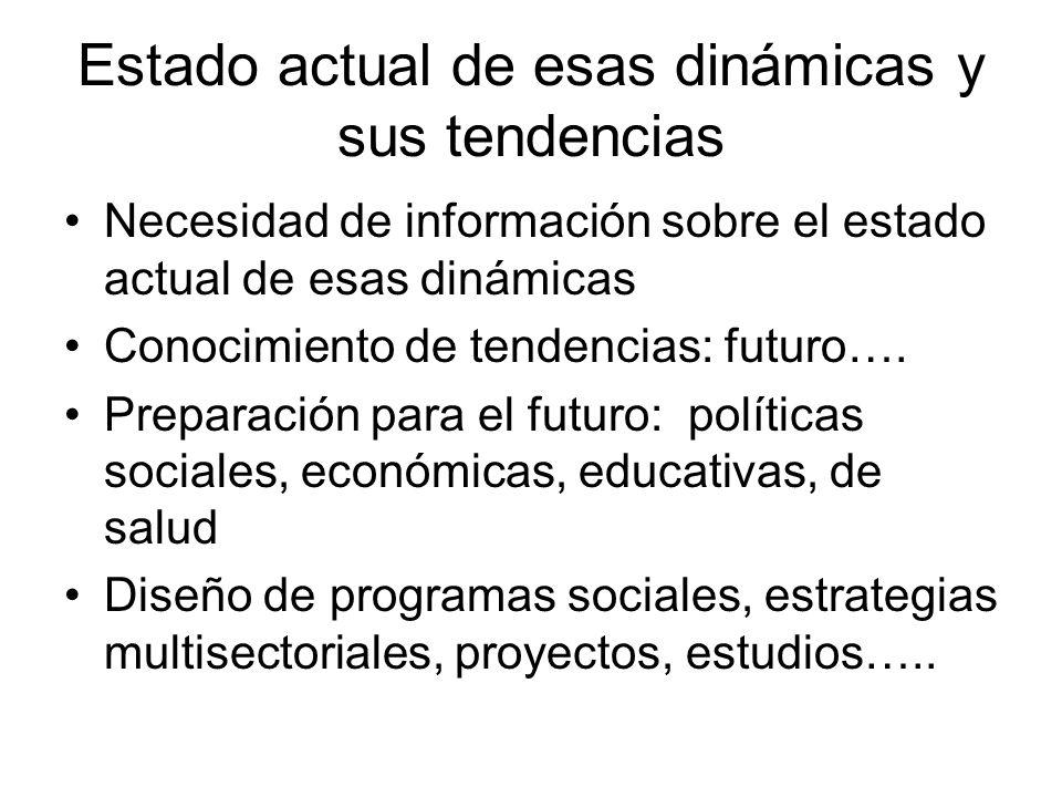 Estado actual de esas dinámicas y sus tendencias Necesidad de información sobre el estado actual de esas dinámicas Conocimiento de tendencias: futuro…