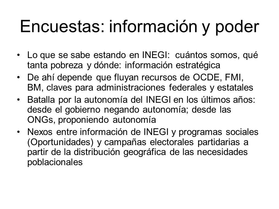 Encuestas: información y poder Lo que se sabe estando en INEGI: cuántos somos, qué tanta pobreza y dónde: información estratégica De ahí depende que f