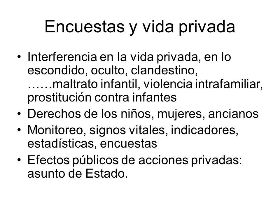 Encuestas y vida privada Interferencia en la vida privada, en lo escondido, oculto, clandestino, ……maltrato infantil, violencia intrafamiliar, prostit