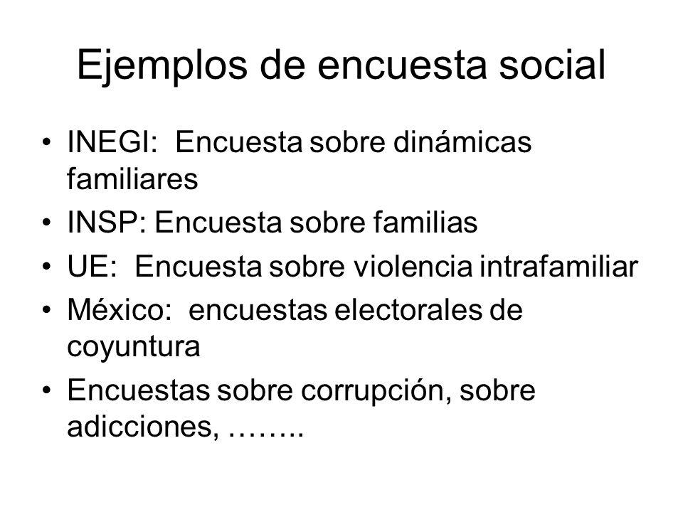 Ejemplos de encuesta social INEGI: Encuesta sobre dinámicas familiares INSP: Encuesta sobre familias UE: Encuesta sobre violencia intrafamiliar México