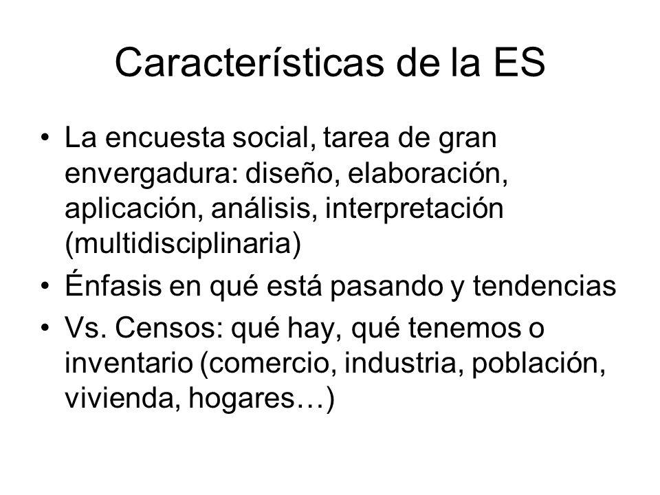 Características de la ES La encuesta social, tarea de gran envergadura: diseño, elaboración, aplicación, análisis, interpretación (multidisciplinaria)