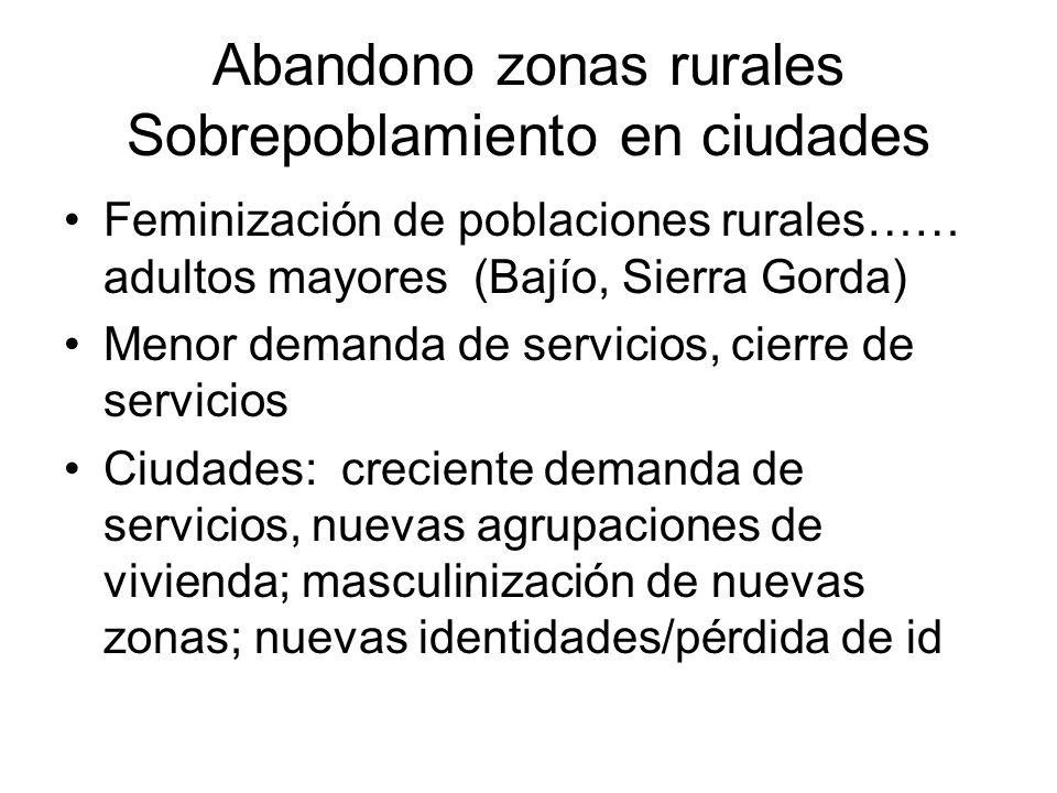 Abandono zonas rurales Sobrepoblamiento en ciudades Feminización de poblaciones rurales…… adultos mayores (Bajío, Sierra Gorda) Menor demanda de servi