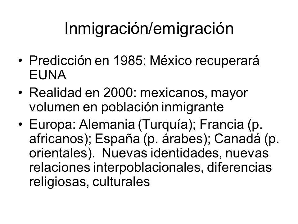 Inmigración/emigración Predicción en 1985: México recuperará EUNA Realidad en 2000: mexicanos, mayor volumen en población inmigrante Europa: Alemania