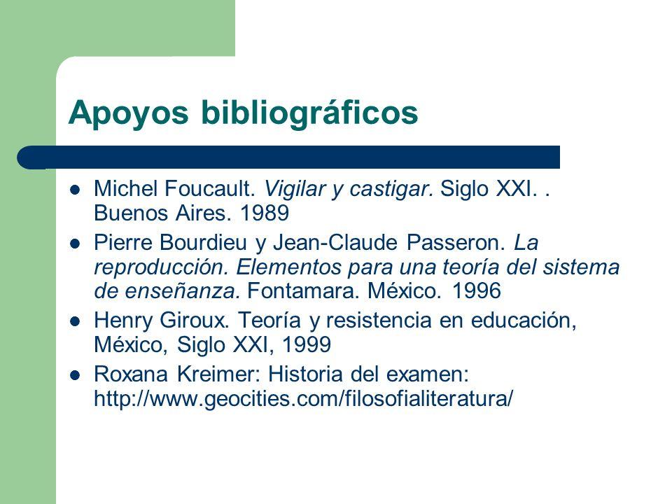 Apoyos bibliográficos Michel Foucault. Vigilar y castigar. Siglo XXI.. Buenos Aires. 1989 Pierre Bourdieu y Jean-Claude Passeron. La reproducción. Ele