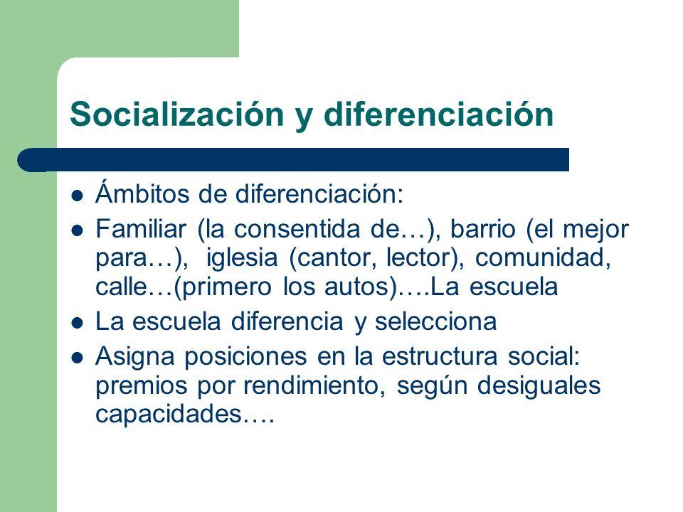 Socialización y diferenciación Ámbitos de diferenciación: Familiar (la consentida de…), barrio (el mejor para…), iglesia (cantor, lector), comunidad,