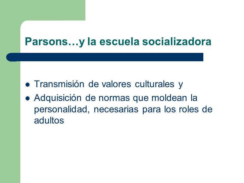 Parsons…y la escuela socializadora Transmisión de valores culturales y Adquisición de normas que moldean la personalidad, necesarias para los roles de