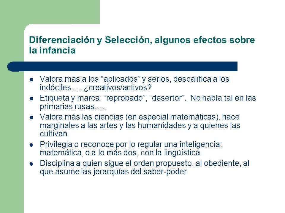 Diferenciación y Selección, algunos efectos sobre la infancia Valora más a los aplicados y serios, descalifica a los indóciles…..¿creativos/activos? E