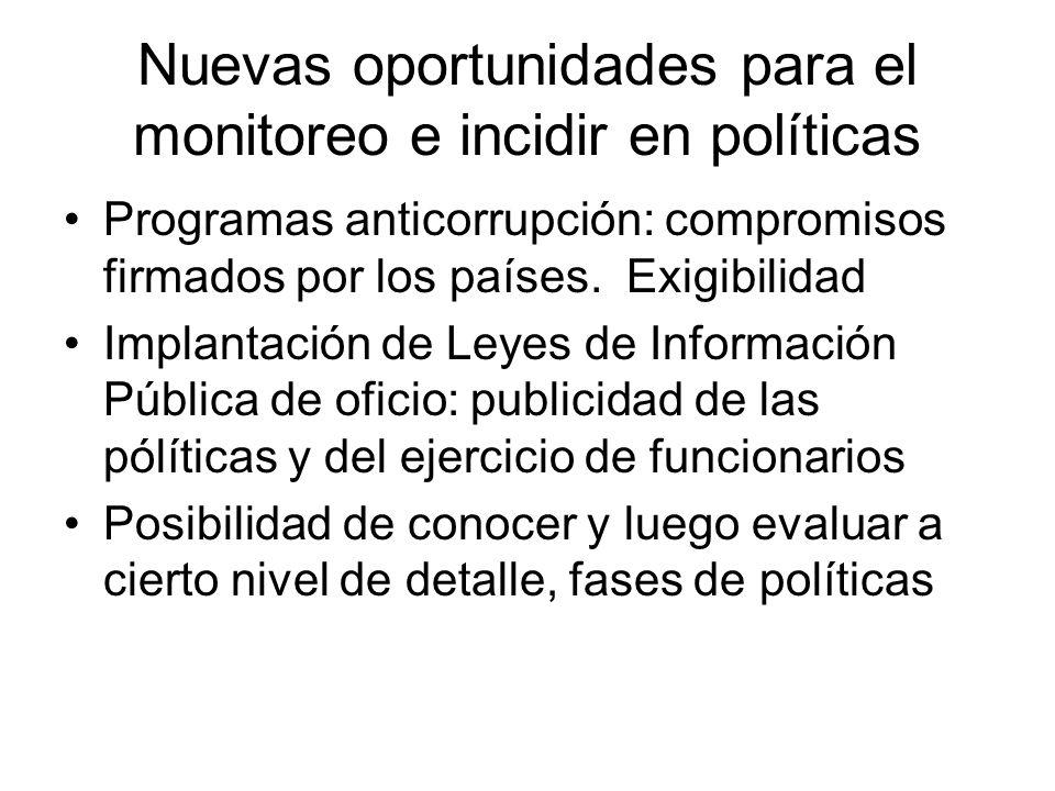 Nuevas oportunidades para el monitoreo e incidir en políticas Programas anticorrupción: compromisos firmados por los países. Exigibilidad Implantación