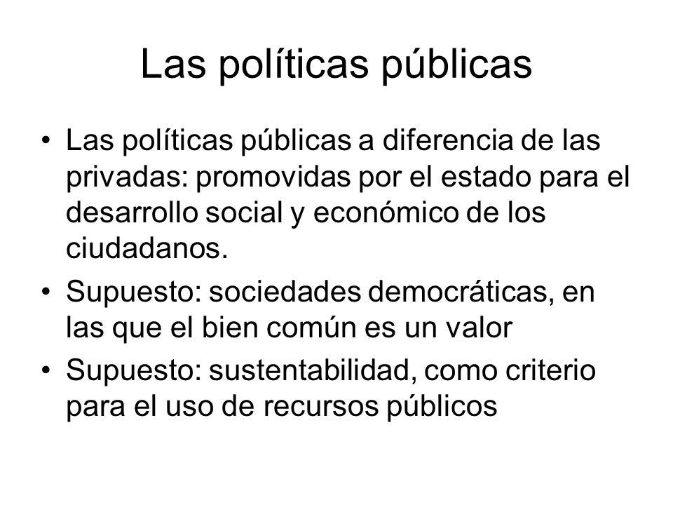Las políticas públicas Las políticas públicas a diferencia de las privadas: promovidas por el estado para el desarrollo social y económico de los ciud