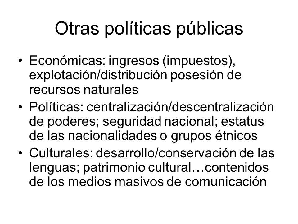 Otras políticas públicas Económicas: ingresos (impuestos), explotación/distribución posesión de recursos naturales Políticas: centralización/descentra