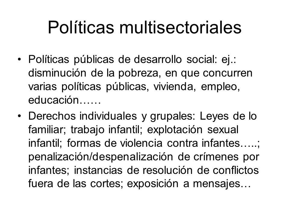 Políticas multisectoriales Políticas públicas de desarrollo social: ej.: disminución de la pobreza, en que concurren varias políticas públicas, vivien