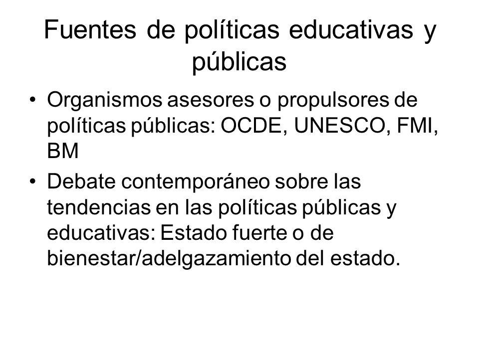 Fuentes de políticas educativas y públicas Organismos asesores o propulsores de políticas públicas: OCDE, UNESCO, FMI, BM Debate contemporáneo sobre l