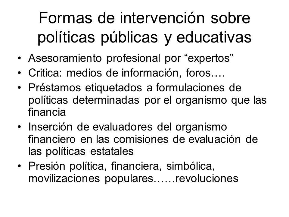 Formas de intervención sobre políticas públicas y educativas Asesoramiento profesional por expertos Critica: medios de información, foros…. Préstamos