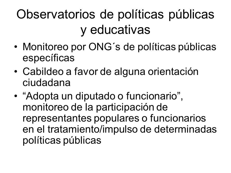 Observatorios de políticas públicas y educativas Monitoreo por ONG´s de políticas públicas específicas Cabildeo a favor de alguna orientación ciudadan