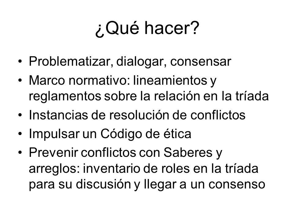 ¿Qué hacer? Problematizar, dialogar, consensar Marco normativo: lineamientos y reglamentos sobre la relación en la tríada Instancias de resolución de