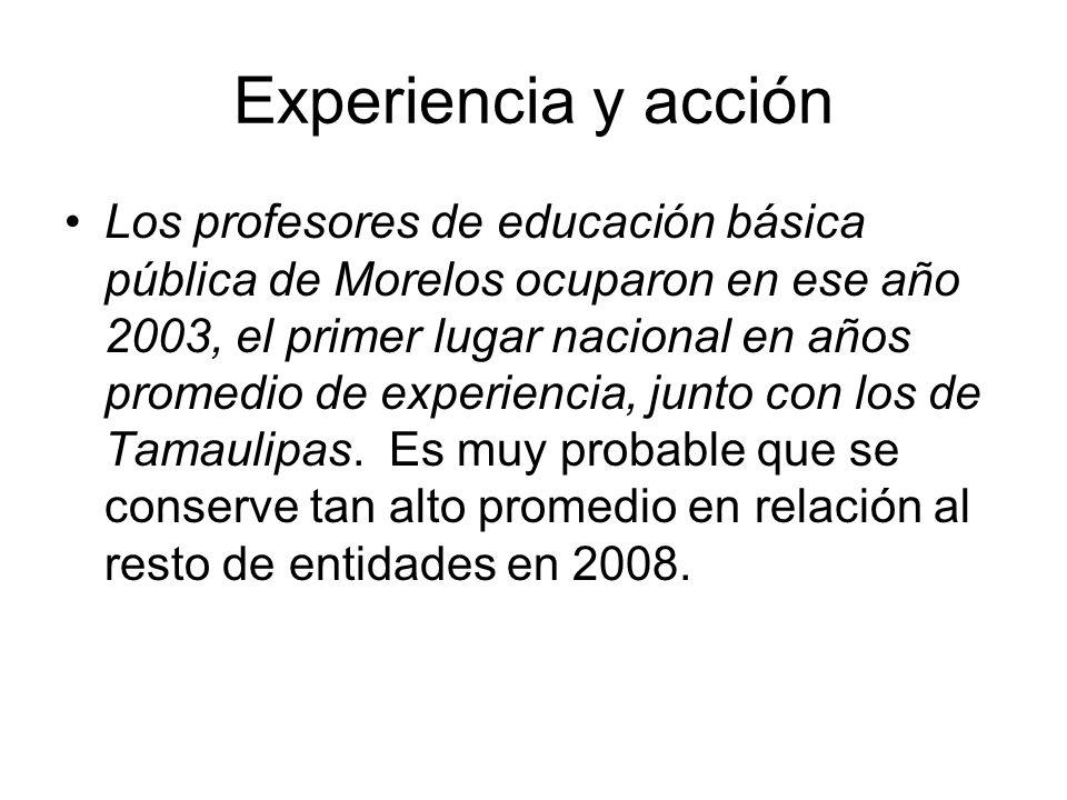 Experiencia y acción Los profesores de educación básica pública de Morelos ocuparon en ese año 2003, el primer lugar nacional en años promedio de experiencia, junto con los de Tamaulipas.