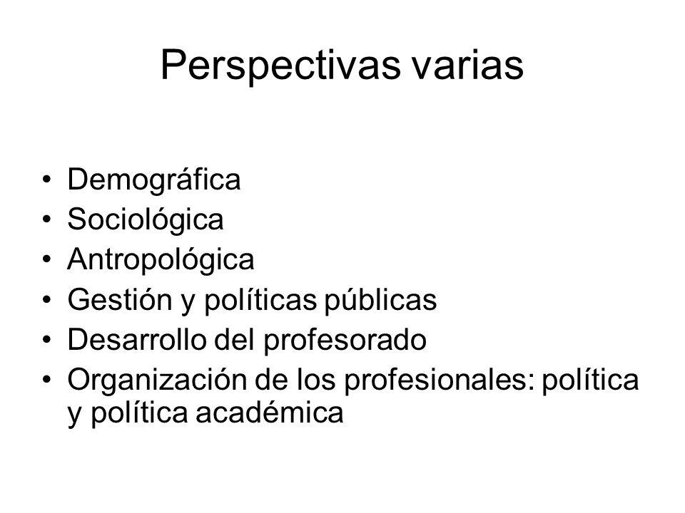 Perspectivas varias Demográfica Sociológica Antropológica Gestión y políticas públicas Desarrollo del profesorado Organización de los profesionales: política y política académica