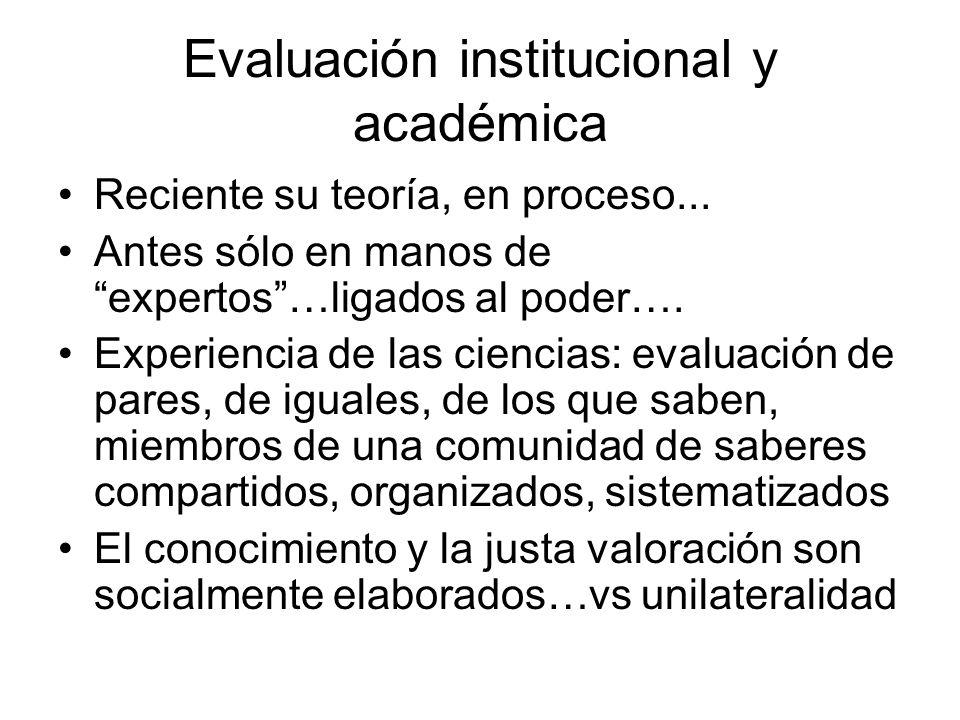 Evaluación institucional y académica Reciente su teoría, en proceso...