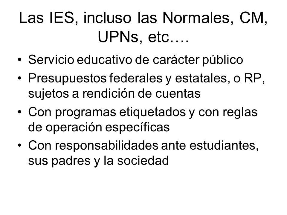 Las IES, incluso las Normales, CM, UPNs, etc….