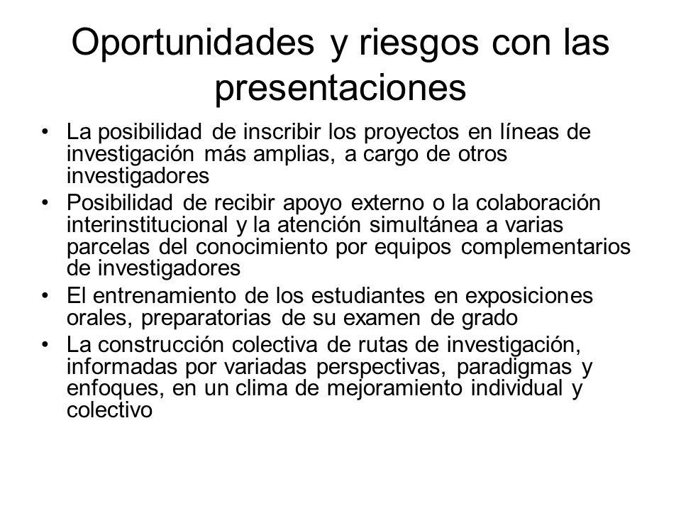 Oportunidades y riesgos con las presentaciones La posibilidad de inscribir los proyectos en líneas de investigación más amplias, a cargo de otros inve