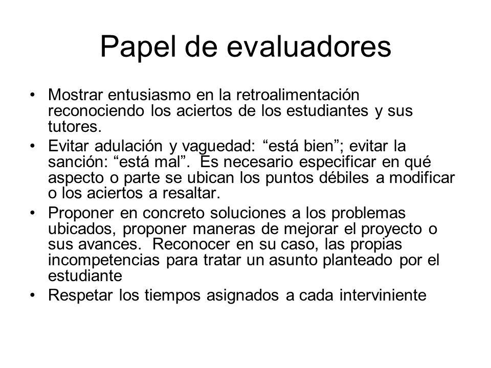 ¿Cuál es el rol de los estudiantes o profesores expositores.