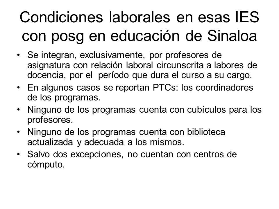 Condiciones laborales en esas IES con posg en educación de Sinaloa Se integran, exclusivamente, por profesores de asignatura con relación laboral circunscrita a labores de docencia, por el período que dura el curso a su cargo.