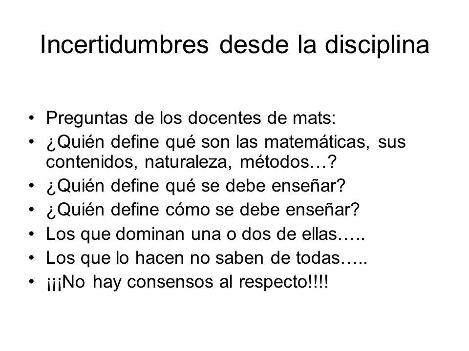 Incertidumbres desde la disciplina Preguntas de los docentes de mats: ¿Quién define qué son las matemáticas, sus contenidos, naturaleza, métodos….