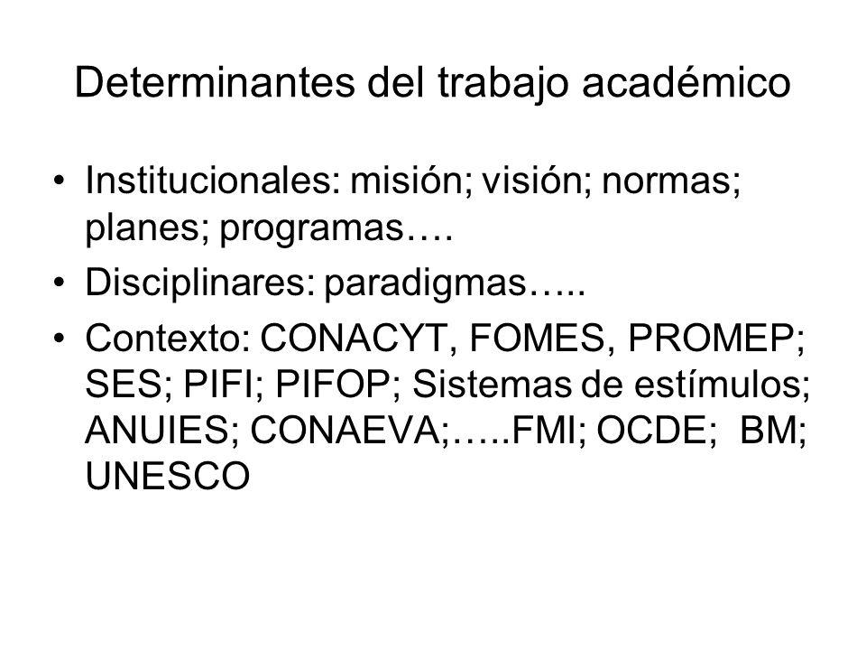 Determinantes del trabajo académico Institucionales: misión; visión; normas; planes; programas….