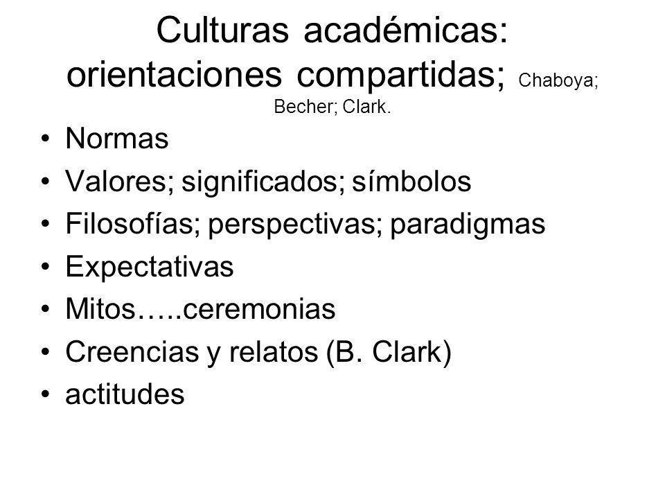 Culturas académicas: orientaciones compartidas; Chaboya; Becher; Clark.