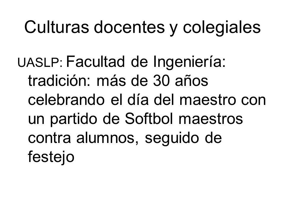 Culturas docentes y colegiales UASLP: Facultad de Ingeniería: tradición: más de 30 años celebrando el día del maestro con un partido de Softbol maestros contra alumnos, seguido de festejo