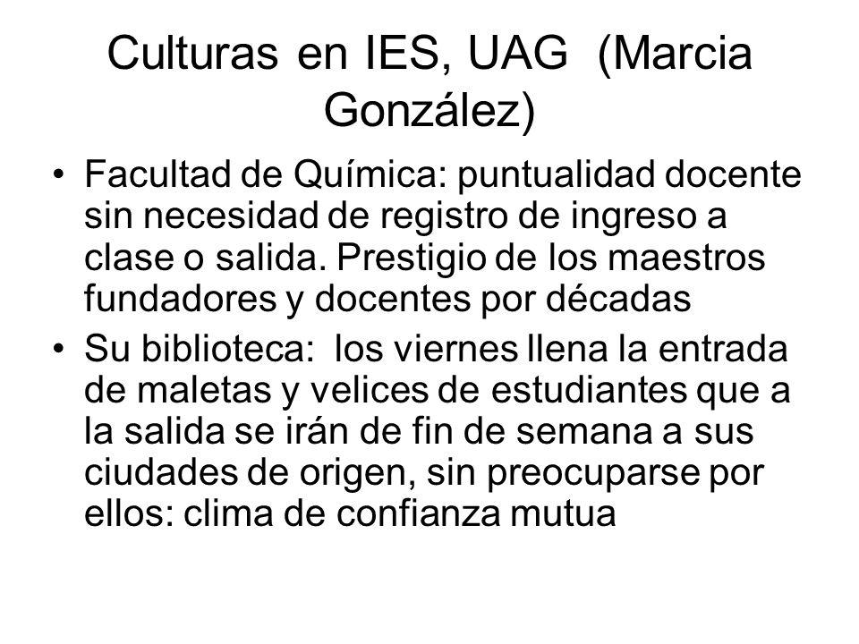 Culturas en IES, UAG (Marcia González) Facultad de Química: puntualidad docente sin necesidad de registro de ingreso a clase o salida.