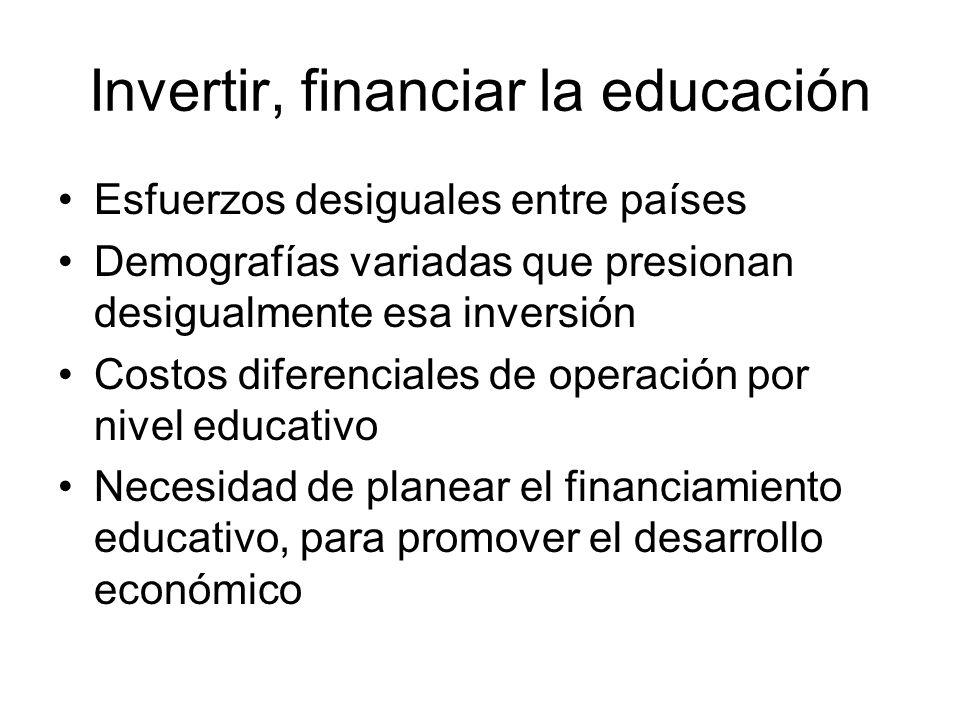 Invertir, financiar la educación Esfuerzos desiguales entre países Demografías variadas que presionan desigualmente esa inversión Costos diferenciales