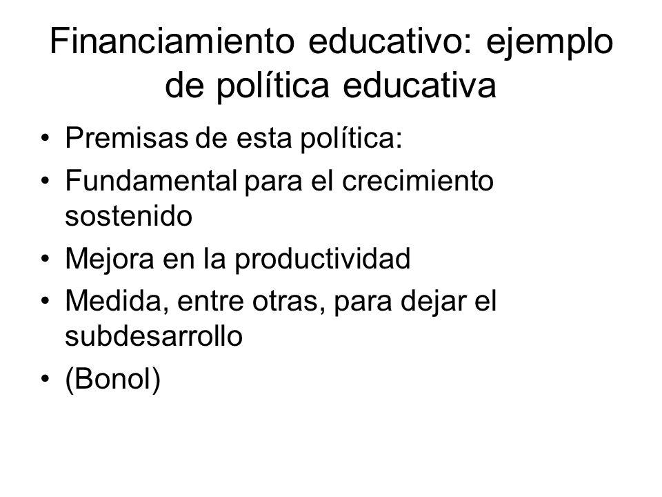 Financiamiento educativo: ejemplo de política educativa Premisas de esta política: Fundamental para el crecimiento sostenido Mejora en la productivida