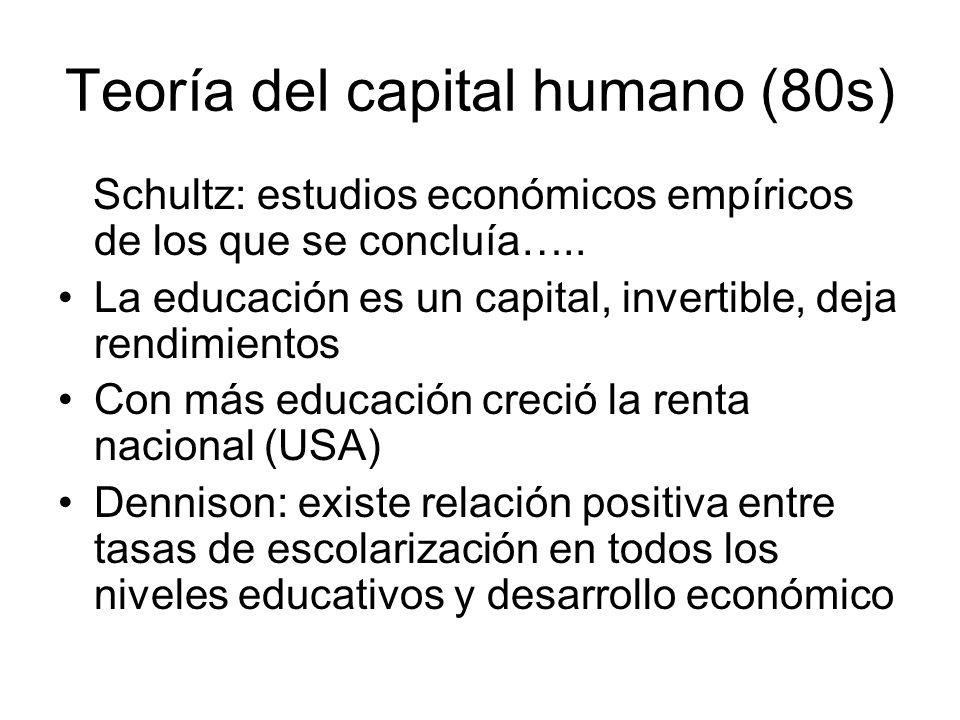 Teoría del capital humano (80s) Schultz: estudios económicos empíricos de los que se concluía….. La educación es un capital, invertible, deja rendimie
