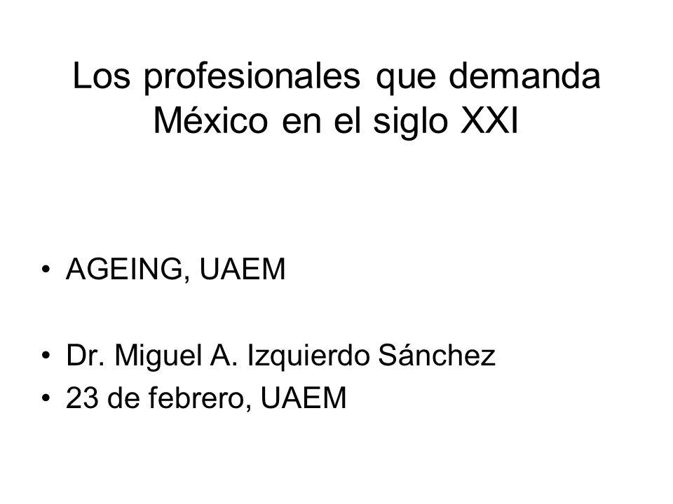 Los profesionales que demanda México en el siglo XXI AGEING, UAEM Dr. Miguel A. Izquierdo Sánchez 23 de febrero, UAEM
