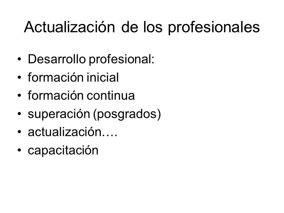 Actualización de los profesionales Desarrollo profesional: formación inicial formación continua superación (posgrados) actualización….