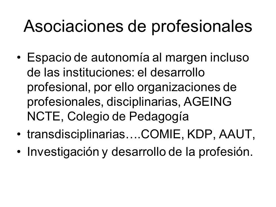 Asociaciones de profesionales Espacio de autonomía al margen incluso de las instituciones: el desarrollo profesional, por ello organizaciones de profesionales, disciplinarias, AGEING NCTE, Colegio de Pedagogía transdisciplinarias….COMIE, KDP, AAUT, Investigación y desarrollo de la profesión.
