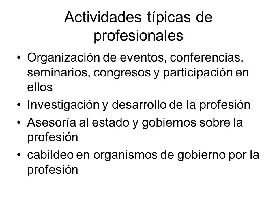 Actividades típicas de profesionales Organización de eventos, conferencias, seminarios, congresos y participación en ellos Investigación y desarrollo de la profesión Asesoría al estado y gobiernos sobre la profesión cabildeo en organismos de gobierno por la profesión