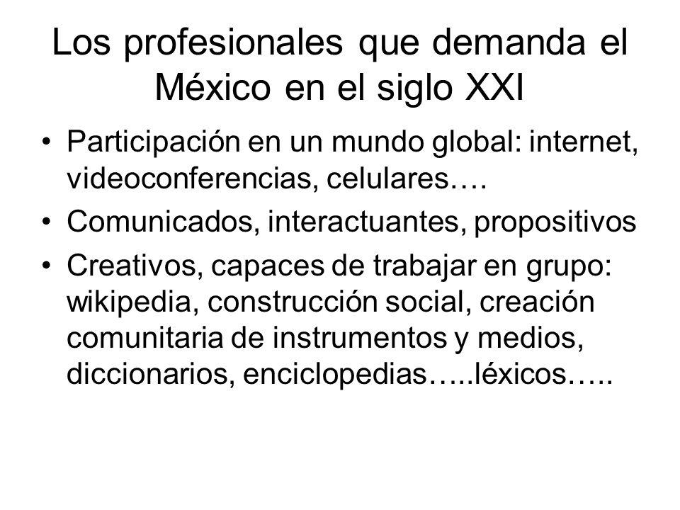 Los profesionales que demanda el México en el siglo XXI Participación en un mundo global: internet, videoconferencias, celulares…. Comunicados, intera