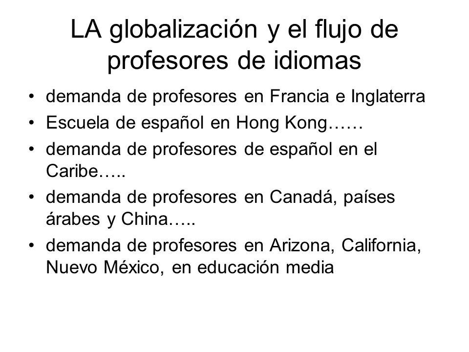 LA globalización y el flujo de profesores de idiomas demanda de profesores en Francia e Inglaterra Escuela de español en Hong Kong…… demanda de profesores de español en el Caribe…..