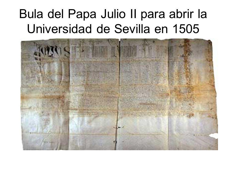 Bula del Papa Julio II para abrir la Universidad de Sevilla en 1505