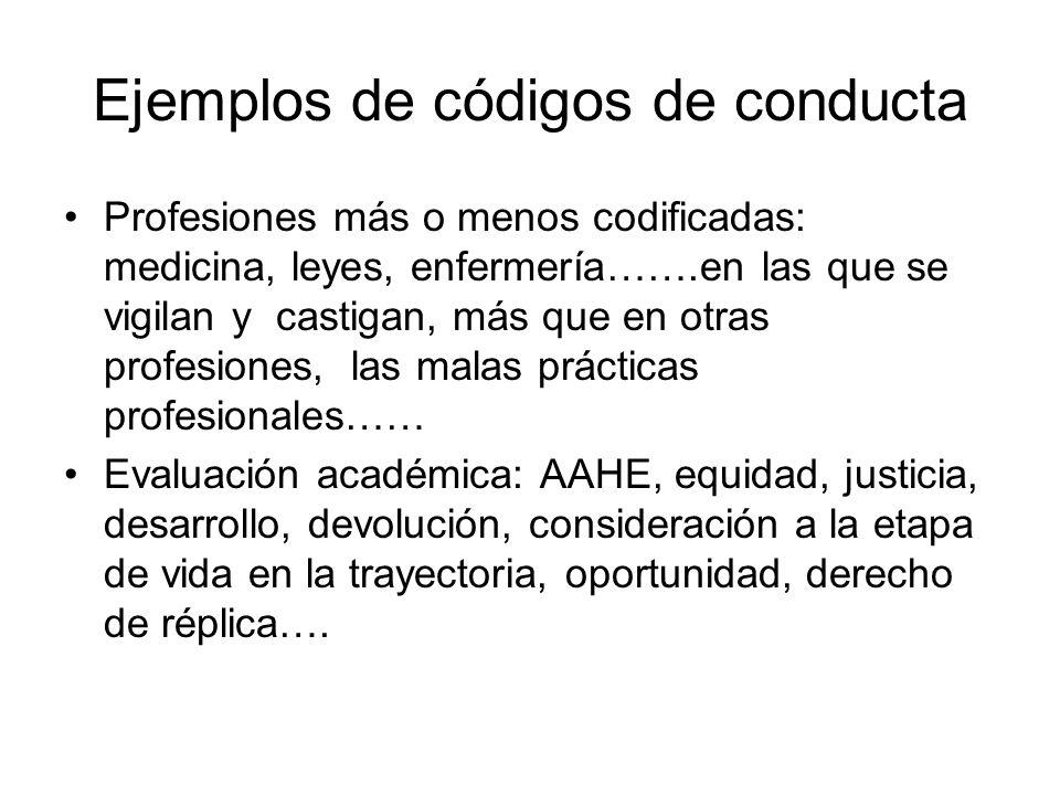Ejemplos de códigos de conducta Profesiones más o menos codificadas: medicina, leyes, enfermería…….en las que se vigilan y castigan, más que en otras