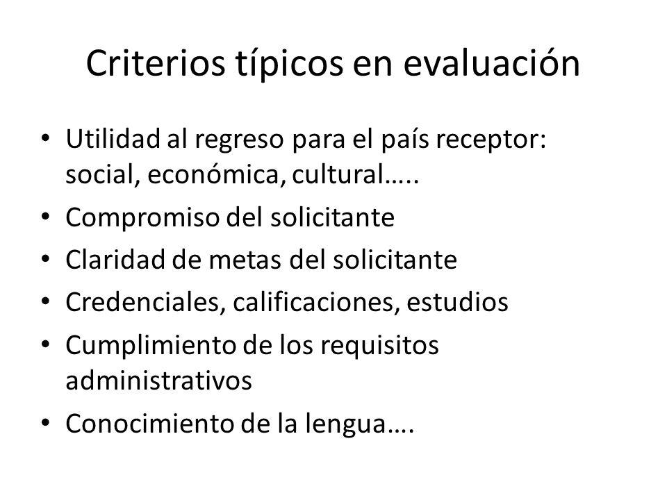 Criterios típicos en evaluación Utilidad al regreso para el país receptor: social, económica, cultural….. Compromiso del solicitante Claridad de metas