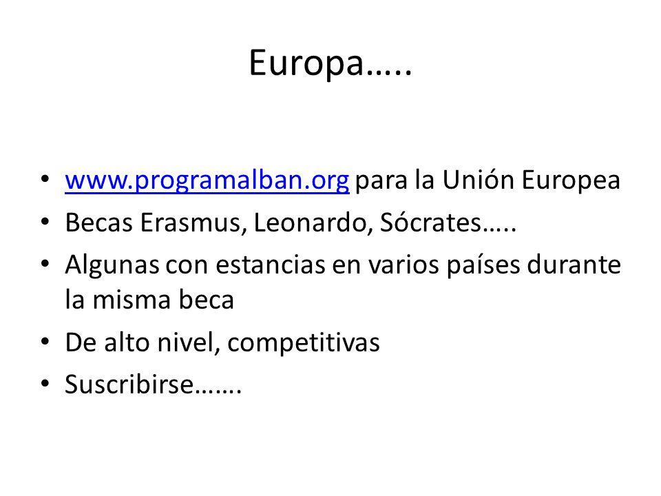 Europa….. www.programalban.org para la Unión Europea www.programalban.org Becas Erasmus, Leonardo, Sócrates….. Algunas con estancias en varios países