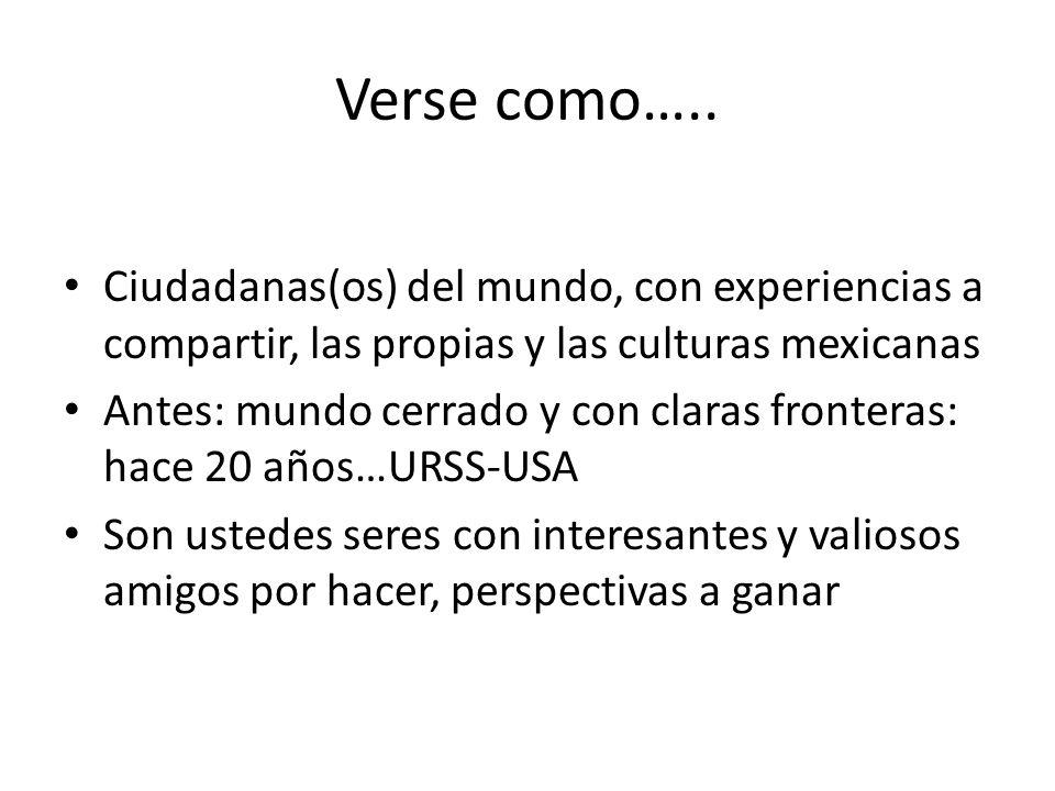 Verse como….. Ciudadanas(os) del mundo, con experiencias a compartir, las propias y las culturas mexicanas Antes: mundo cerrado y con claras fronteras