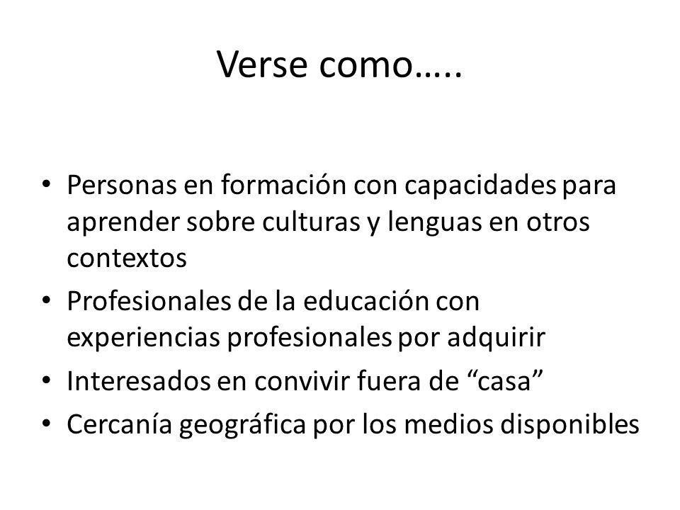 Verse como….. Personas en formación con capacidades para aprender sobre culturas y lenguas en otros contextos Profesionales de la educación con experi