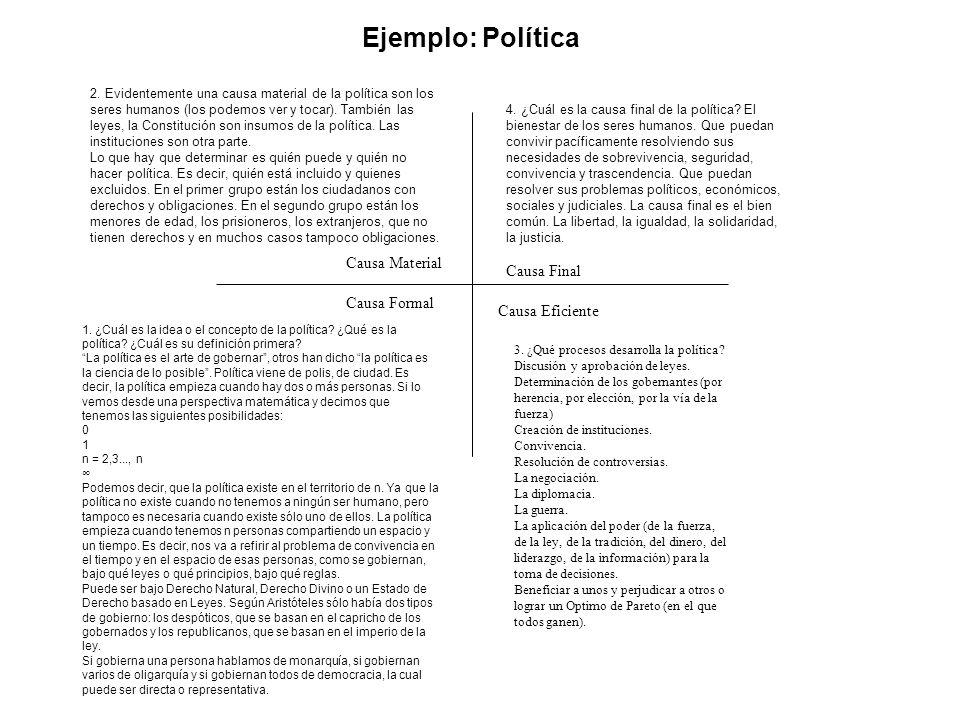 Ejemplo: Política Causa Formal Causa Material Causa Eficiente Causa Final 2.