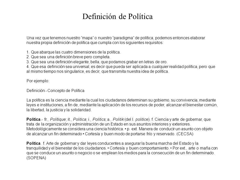 Una vez que tenemos nuestro mapa o nuestro paradigma de política, podemos entonces elaborar nuestra propia definición de política que cumpla con los siguientes requisitos: 1.