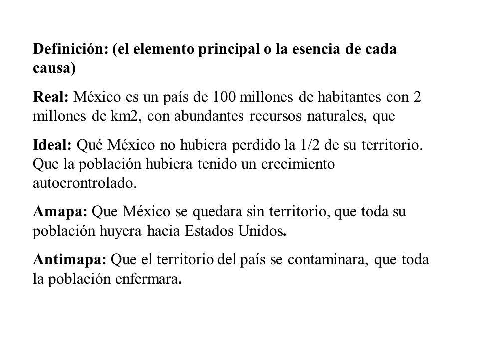 Definición: (el elemento principal o la esencia de cada causa) Real: México es un país de 100 millones de habitantes con 2 millones de km2, con abundantes recursos naturales, que Ideal: Qué México no hubiera perdido la 1/2 de su territorio.